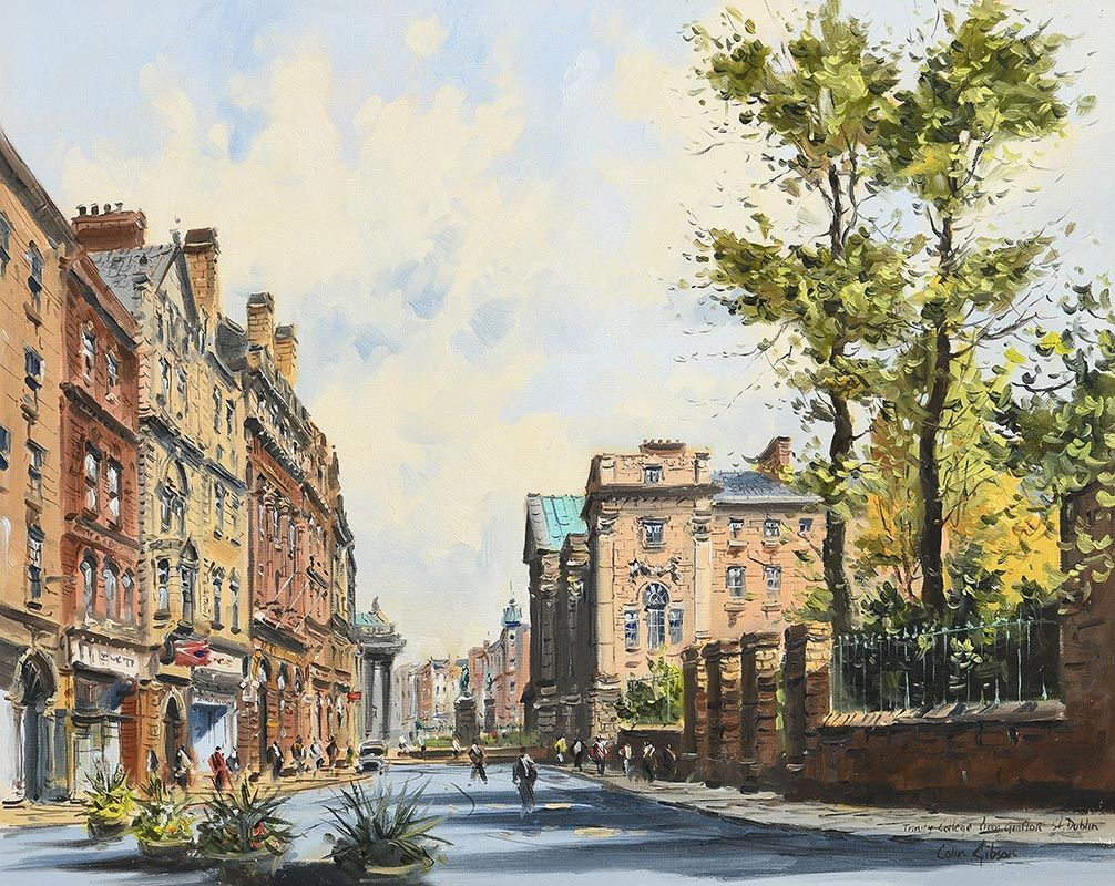 Colin Gibson, Trinity College from Grafton Street, Dublin at Morgan O'Driscoll Art Auctions