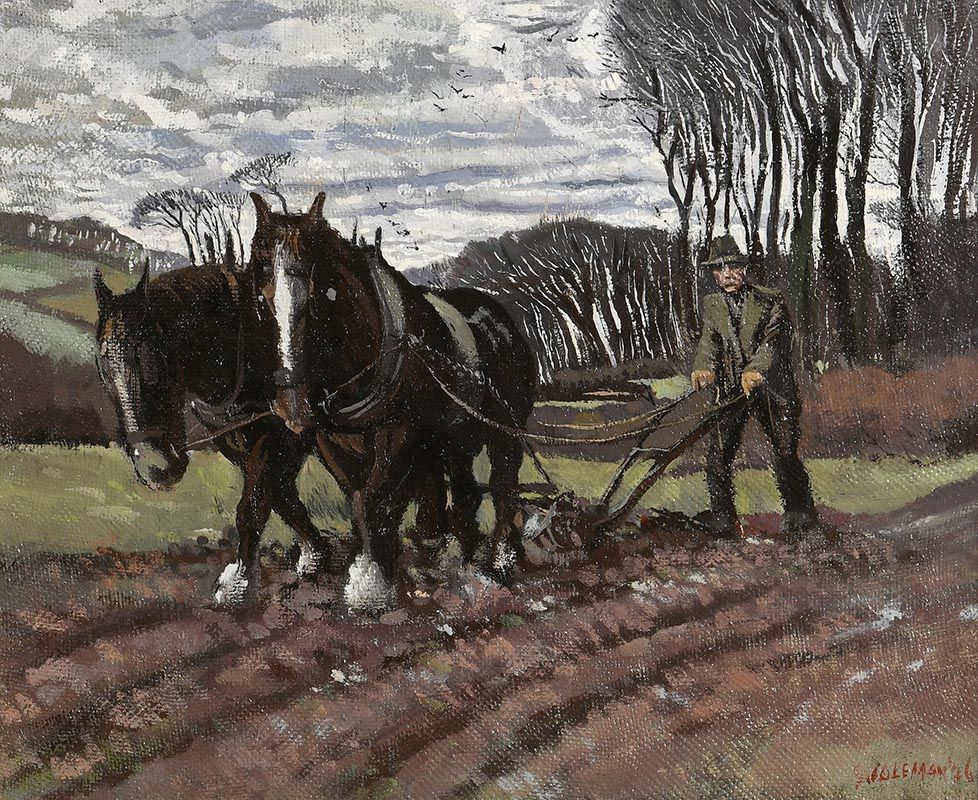 Simon Coleman, Ploughing (1946) at Morgan O'Driscoll Art Auctions