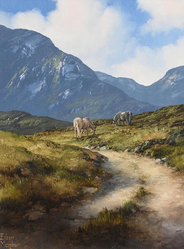 Eileen Meagher, Ponies at Maam Valley, Connemara (2007) at Morgan O'Driscoll Art Auctions