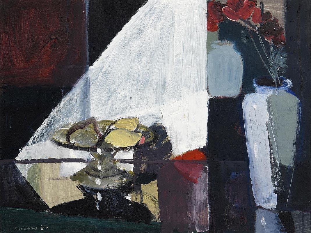 Brian Ballard, Silver Dish and Lemons (1987) at Morgan O'Driscoll Art Auctions
