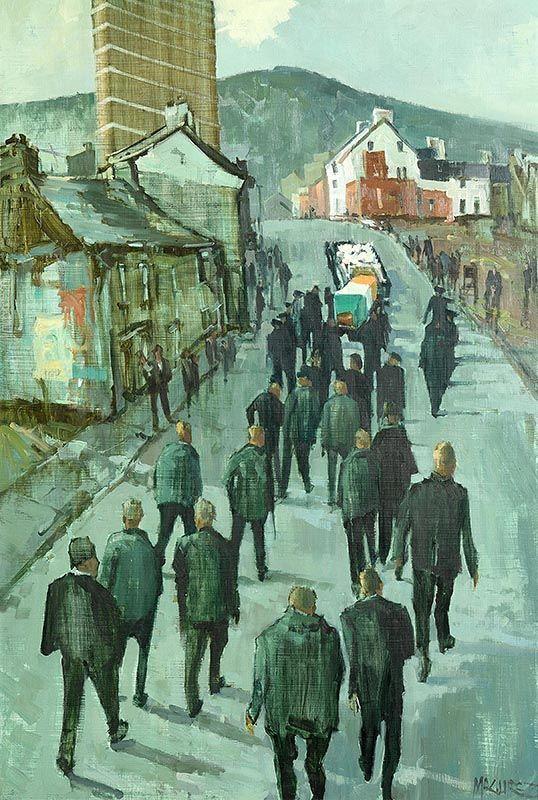 Cecil Maguire, The Dark Parade, Falls Road, Belfast (1973) at Morgan O'Driscoll Art Auctions