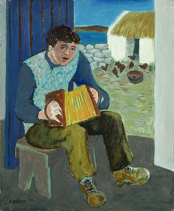 Gerard Dillon, Man and Accordion, Connemara at Morgan O'Driscoll Art Auctions
