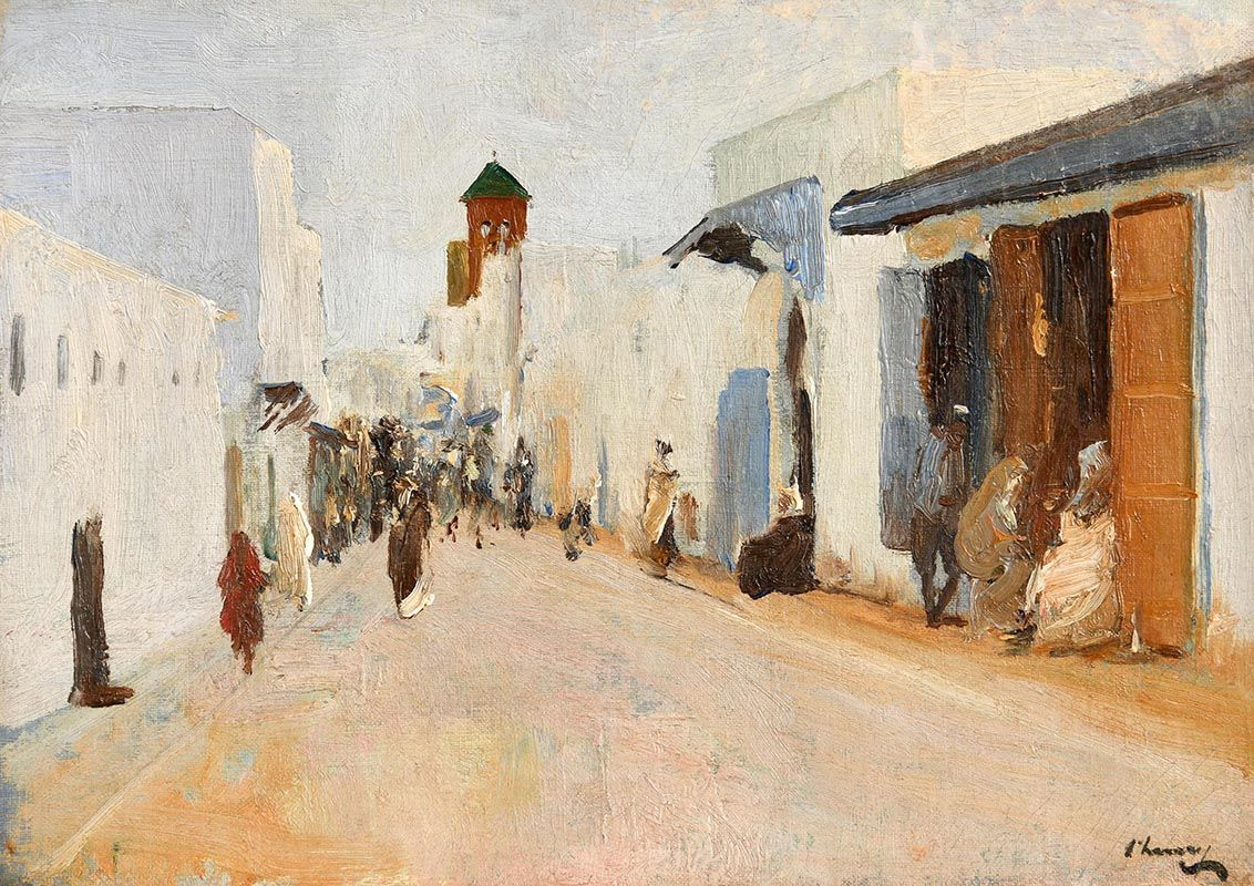 Sir John Lavery, A Street in Rabat, Morocco (1920) at Morgan O'Driscoll Art Auctions