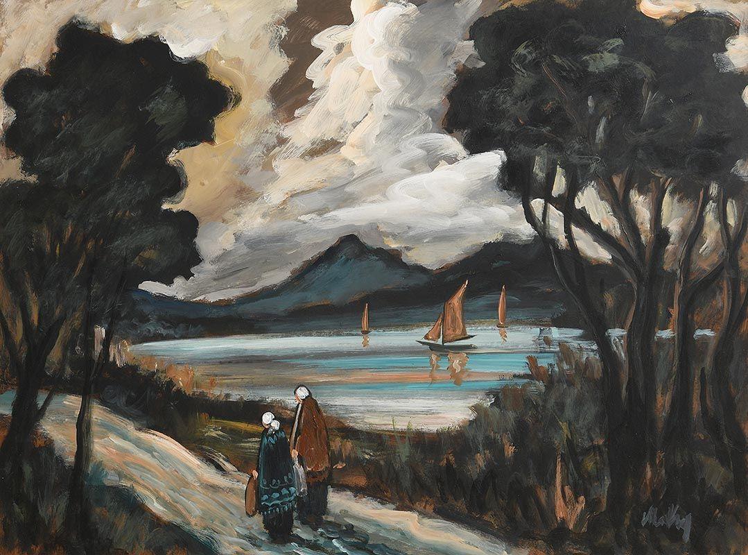 Markey Robinson, Shawlies on the Coast Road at Morgan O'Driscoll Art Auctions