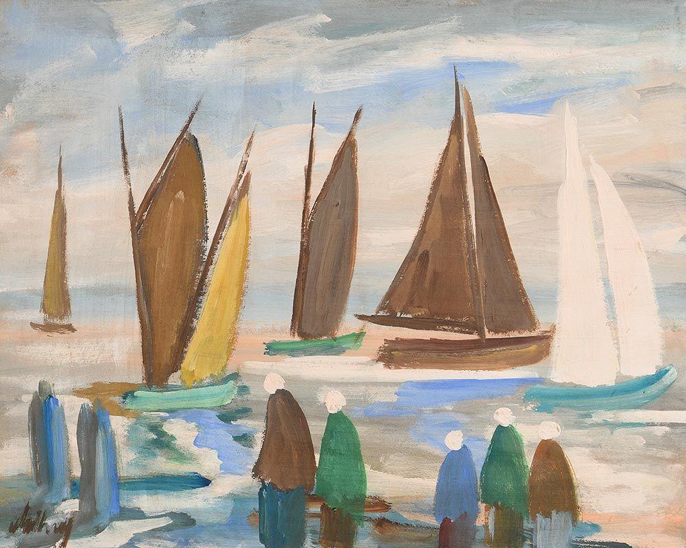 Markey Robinson, Shawlies Watching the Boats at Morgan O'Driscoll Art Auctions