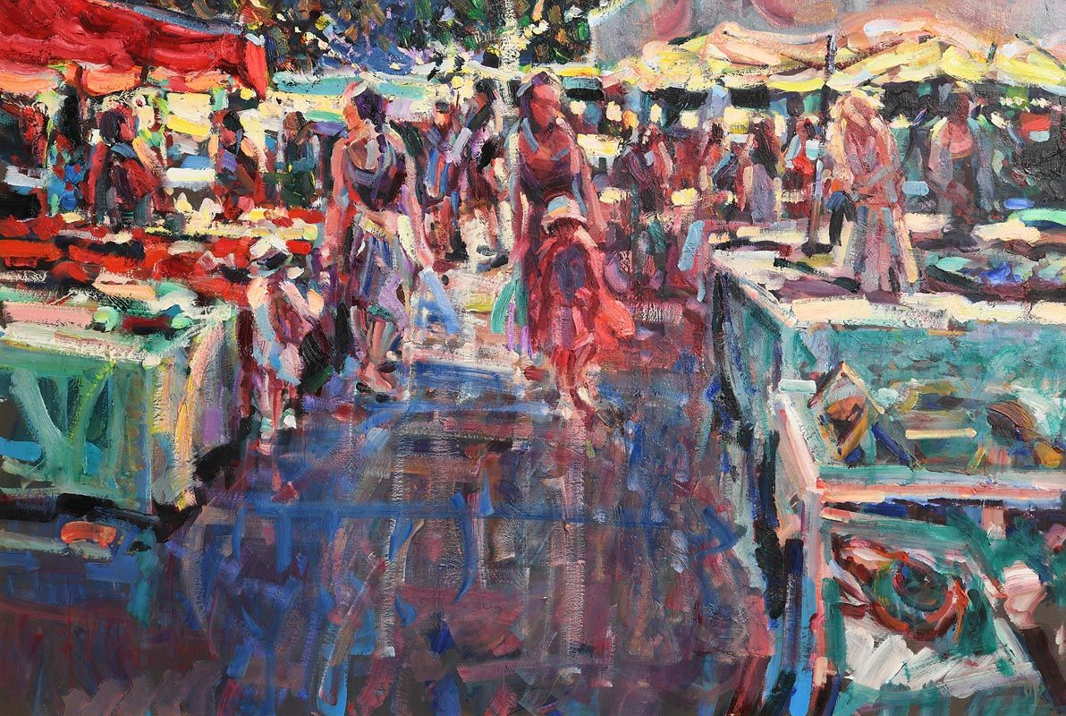 Arthur K. Maderson, The Night Market, Le Vigan, France at Morgan O'Driscoll Art Auctions