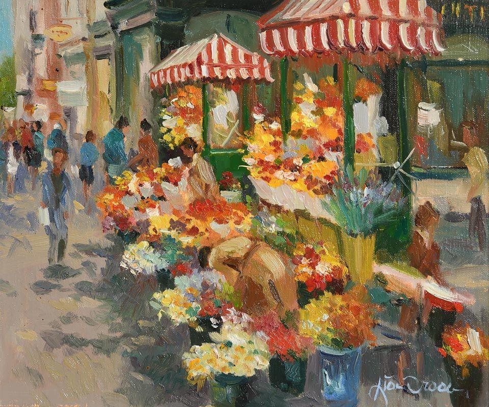 Liam Treacy, Flower Sellers, Grafton Street at Morgan O'Driscoll Art Auctions