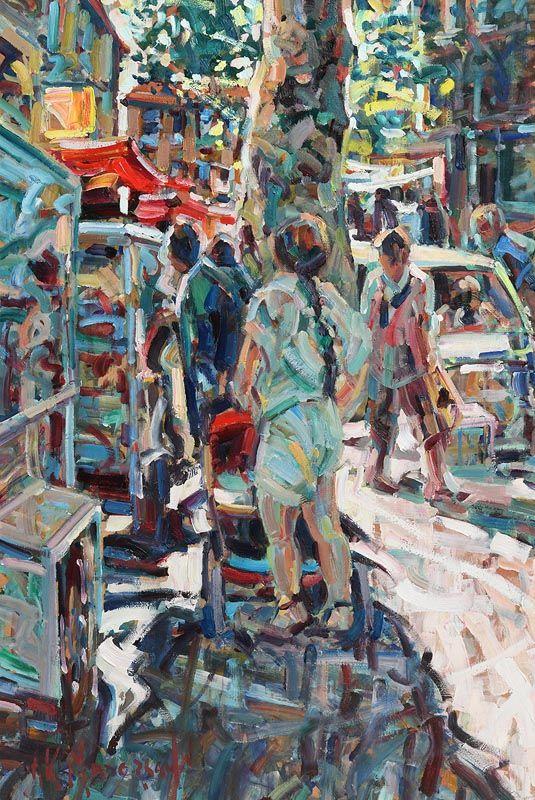 Arthur K. Maderson, Market Day, Anduze, France at Morgan O'Driscoll Art Auctions