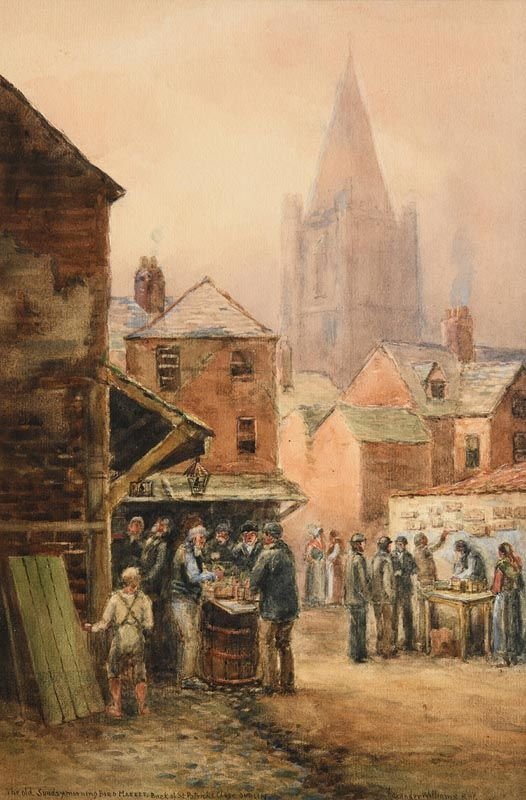 Alexander Williams, The Old Sunday Morning Bird Market, Back of St. Patrick's Close, Dublin at Morgan O'Driscoll Art Auctions