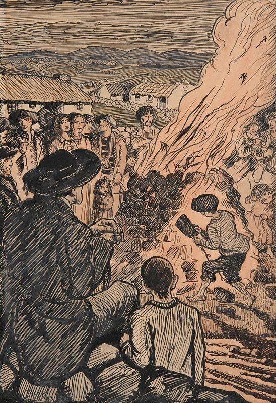 Jack Butler Yeats, St. John's Eve Bonfire Night at Morgan O'Driscoll Art Auctions