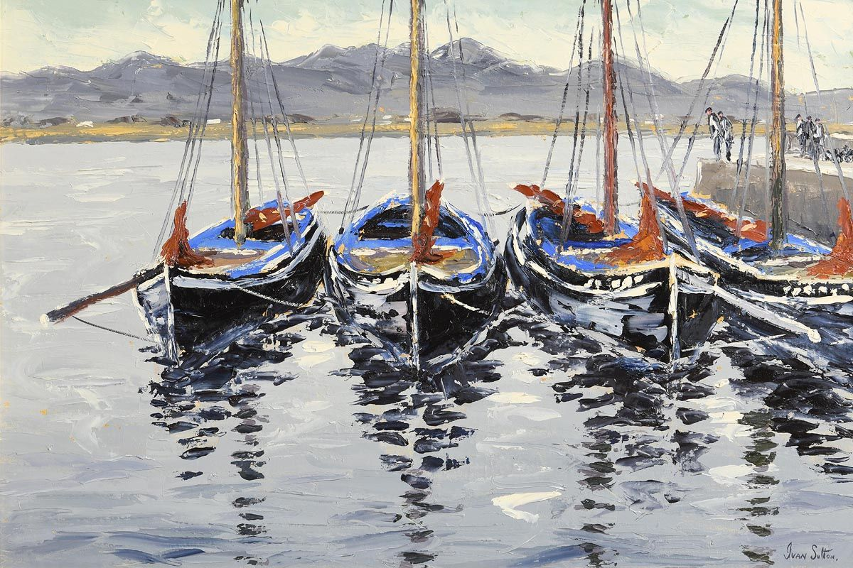 Ivan Sutton, Galway Hookers, Roundstone at Morgan O'Driscoll Art Auctions