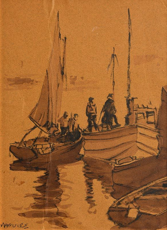 Cecil Maguire, Roundstone Harbour at Morgan O'Driscoll Art Auctions