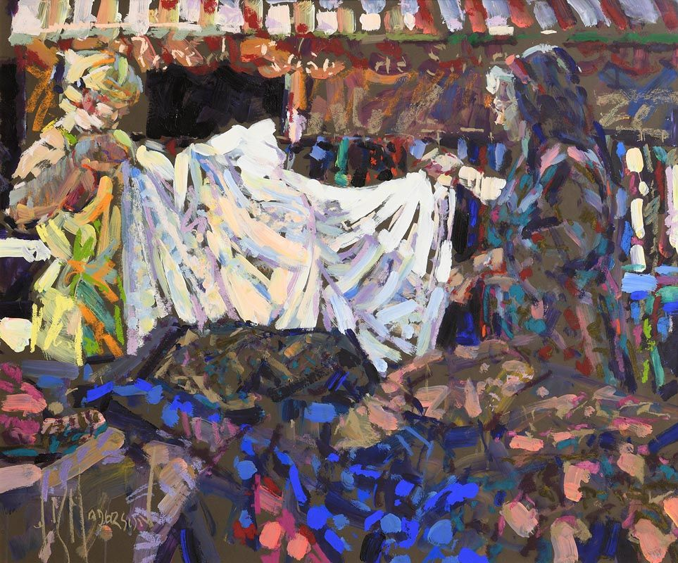 Arthur K. Maderson, Glancing Light, Fabric Stall, Gange Market, France at Morgan O'Driscoll Art Auctions