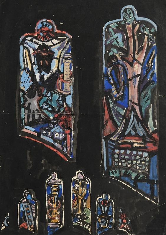 Evie Hone, Early Tracery Designs for the Crucifixion (Darwin Memorial) St Mary's, Downe, Kent (1949) at Morgan O'Driscoll Art Auctions