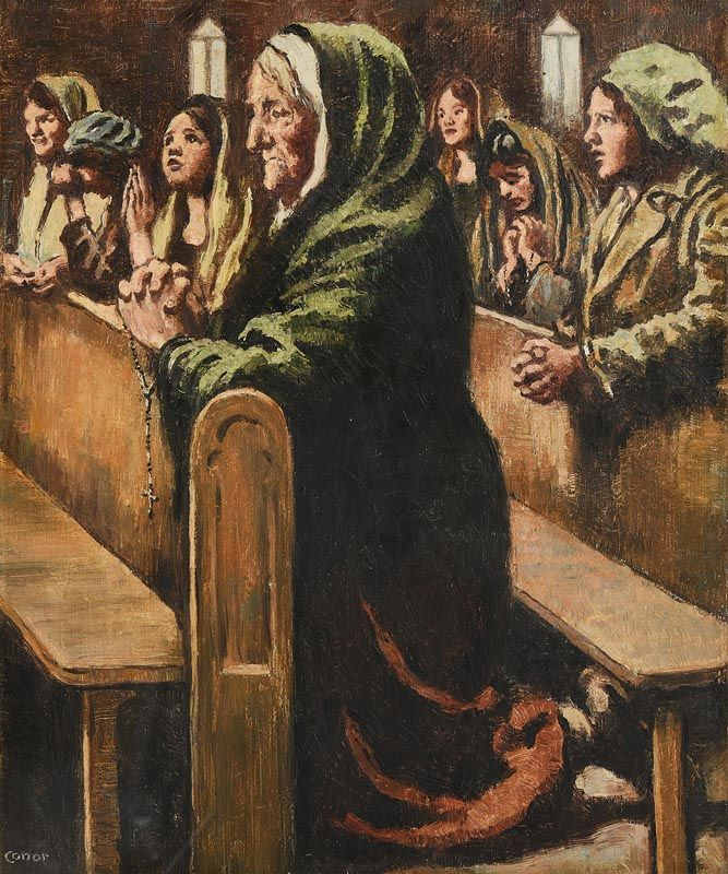 William Conor, At Benediction (c.1918) at Morgan O'Driscoll Art Auctions