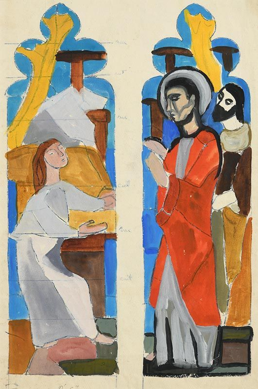 Evie Hone, Preparatory design for Raising the Daughter of Jairis, Washington Cathedral (1953) at Morgan O'Driscoll Art Auctions