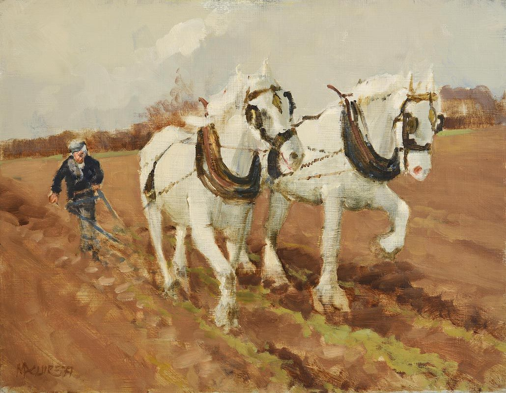 Cecil Maguire, Working Shires (1977) at Morgan O'Driscoll Art Auctions