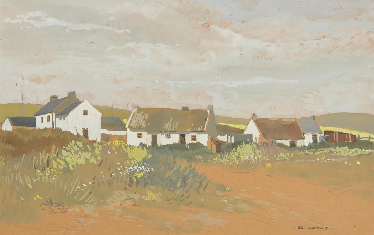 Bea Orpen, Cottages at Clogher (1951) at Morgan O'Driscoll Art Auctions