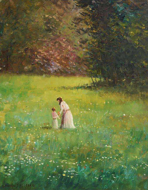 Norman J. McCaig, Gathering Wild Flowers, Barnet's Park at Morgan O'Driscoll Art Auctions