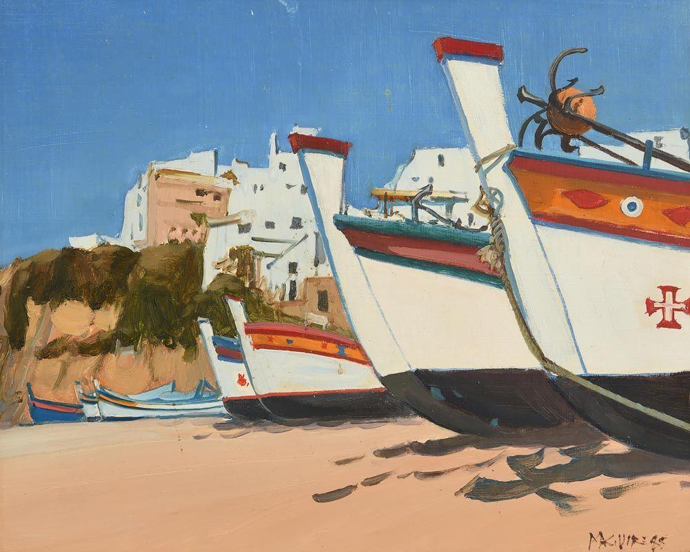 Cecil Maguire, Fishing Boats, Fisherman's Beach, Albulfeira (1985) at Morgan O'Driscoll Art Auctions