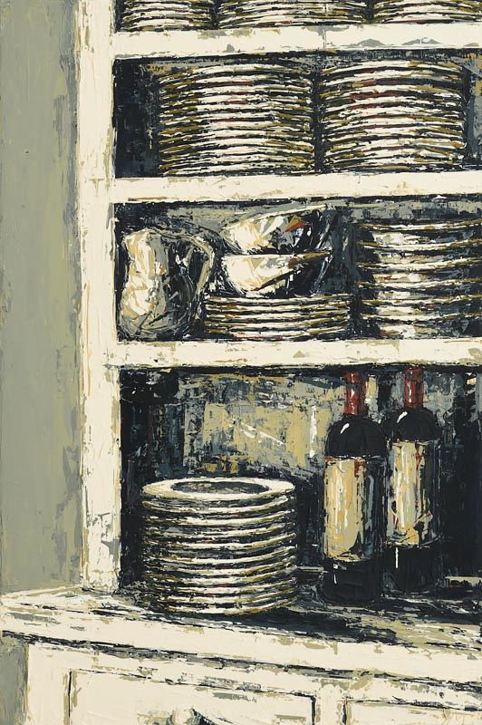 Yvonne Moore, Wine Bottles and Stacked Dishes at Morgan O'Driscoll Art Auctions