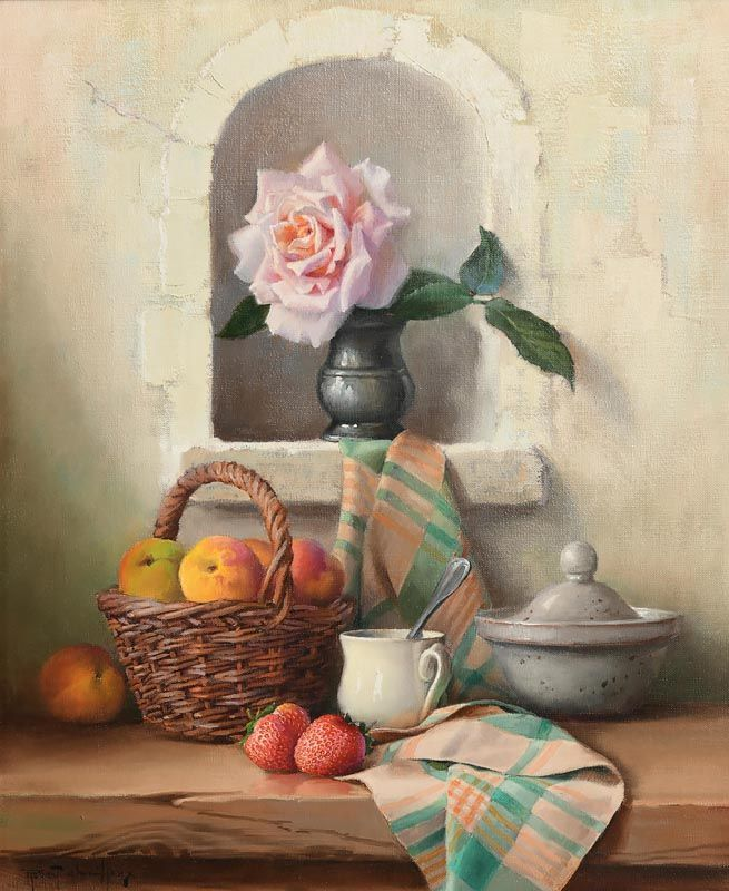 Robert Chailloux, Pink Rose, Wicker Fruit Basket, Tureen, Cup and Cloth at Morgan O'Driscoll Art Auctions