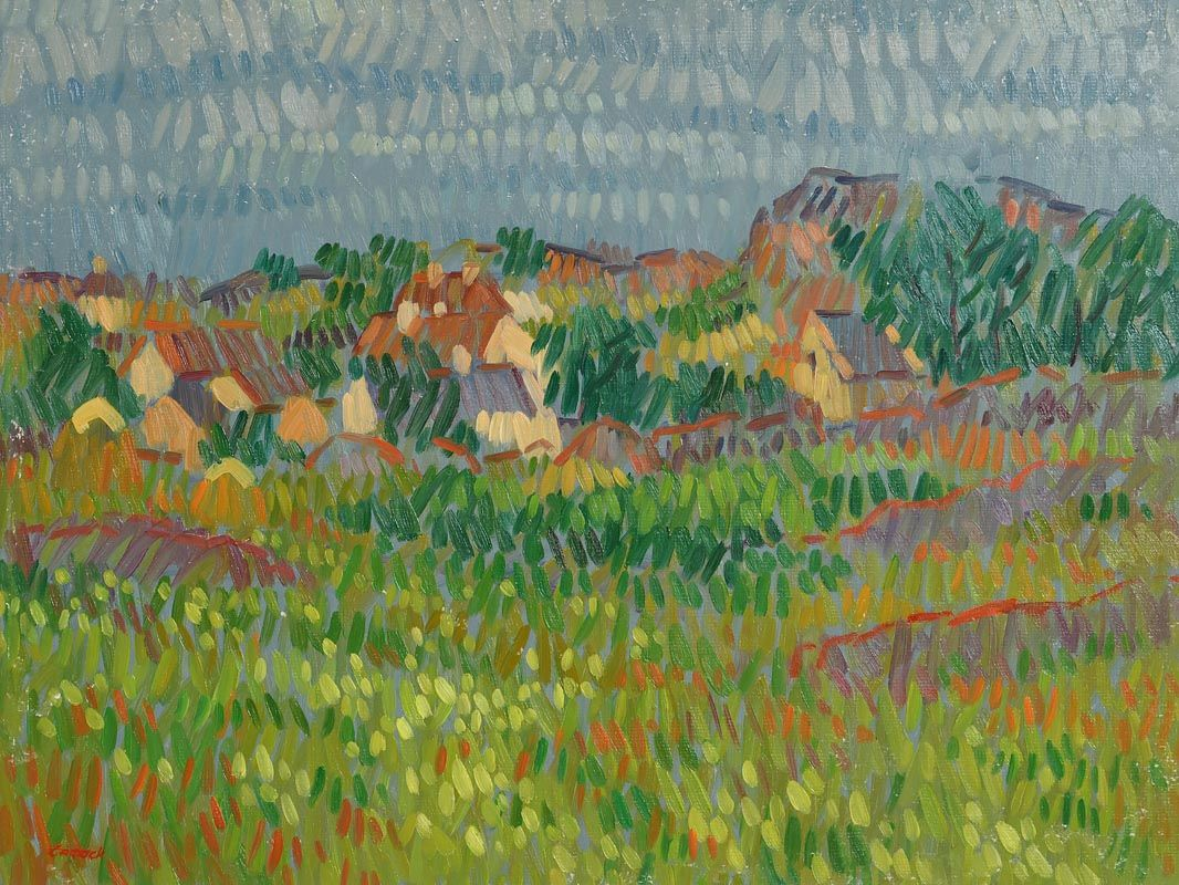 Desmond Carrick, Village, West of Ireland at Morgan O'Driscoll Art Auctions