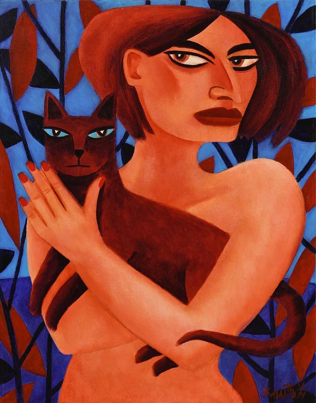 Graham Knuttel, Naked Lady, Brown Cat at Morgan O'Driscoll Art Auctions