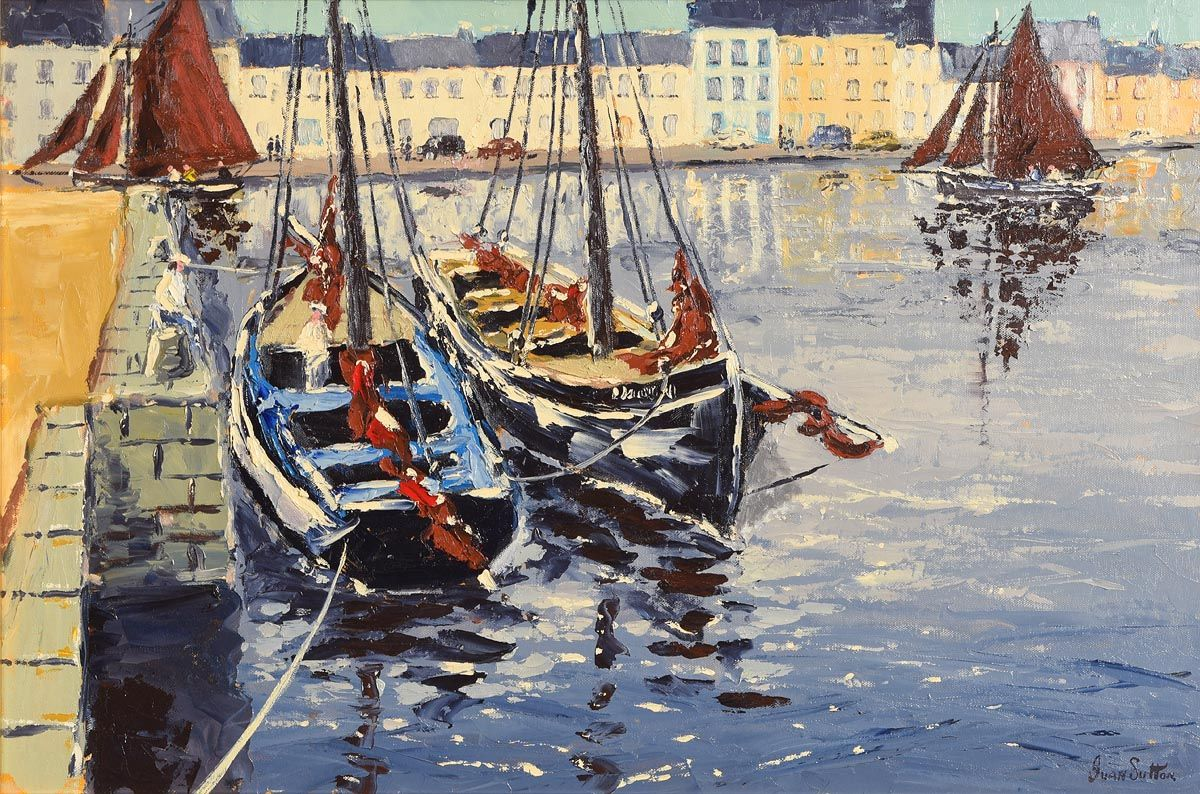 Ivan Sutton, Galway Hookers at Claddagh, Galway at Morgan O'Driscoll Art Auctions
