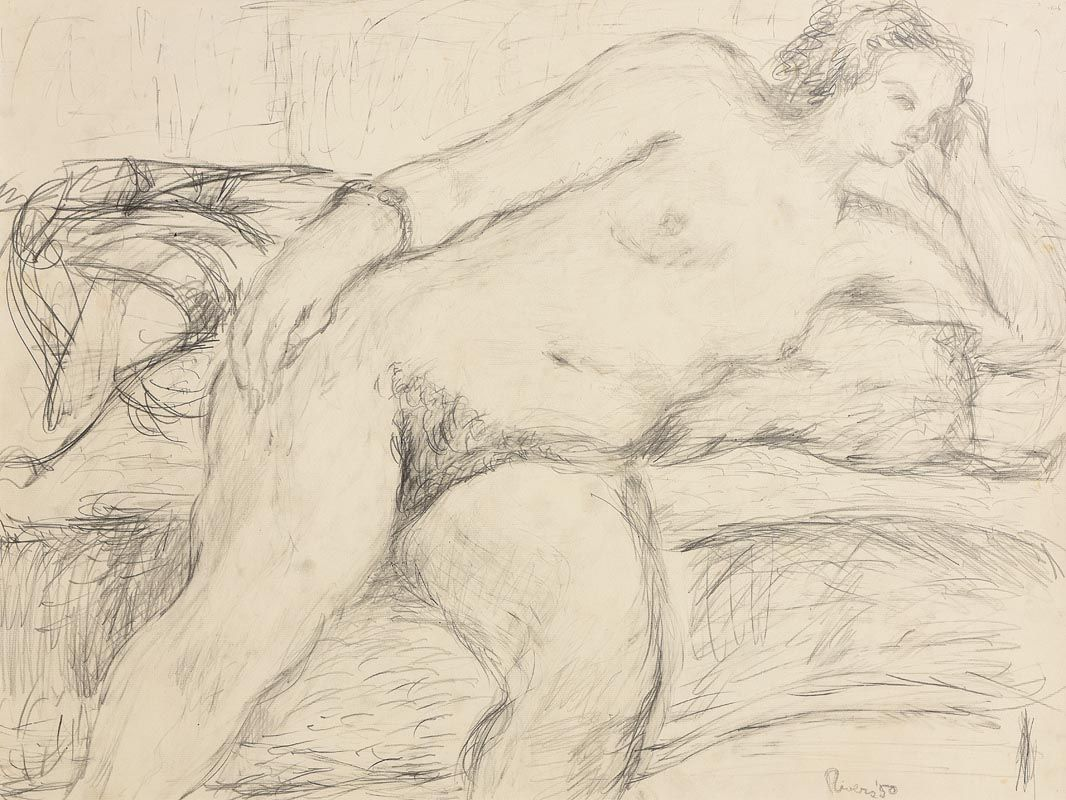 Larry Rivers, Reclining Female Nude (1950) at Morgan O'Driscoll Art Auctions