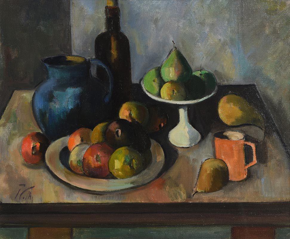 Peter Collis, Black Bottle & Fruit at Morgan O'Driscoll Art Auctions