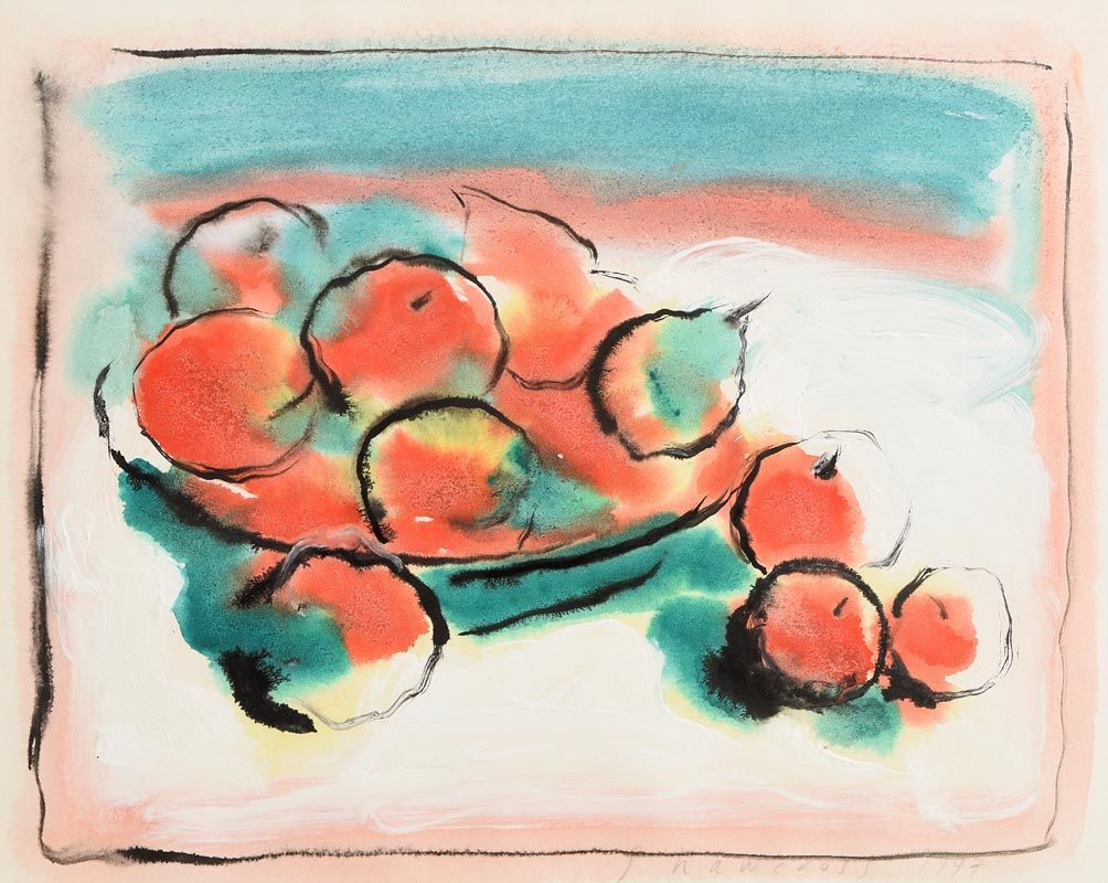 Neil Shawcross, Still Life - Fruit in a Vase (1997) at Morgan O'Driscoll Art Auctions