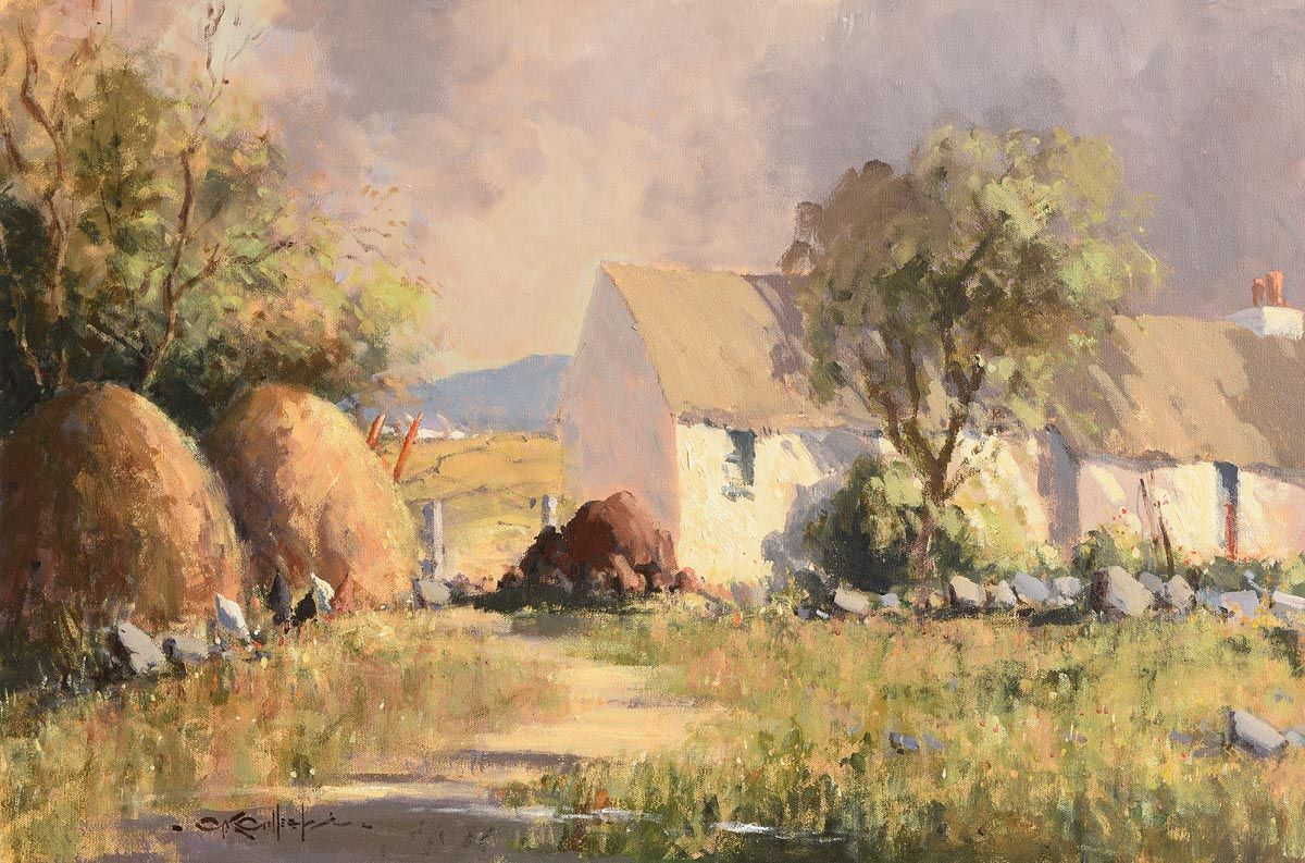 George Gillespie, Haystacks & Old Homestead, West of Ireland at Morgan O'Driscoll Art Auctions