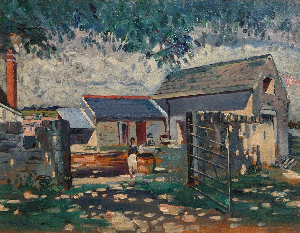 Maurice MacGonigal, Fetching Milk in the Farmyard at Morgan O'Driscoll Art Auctions