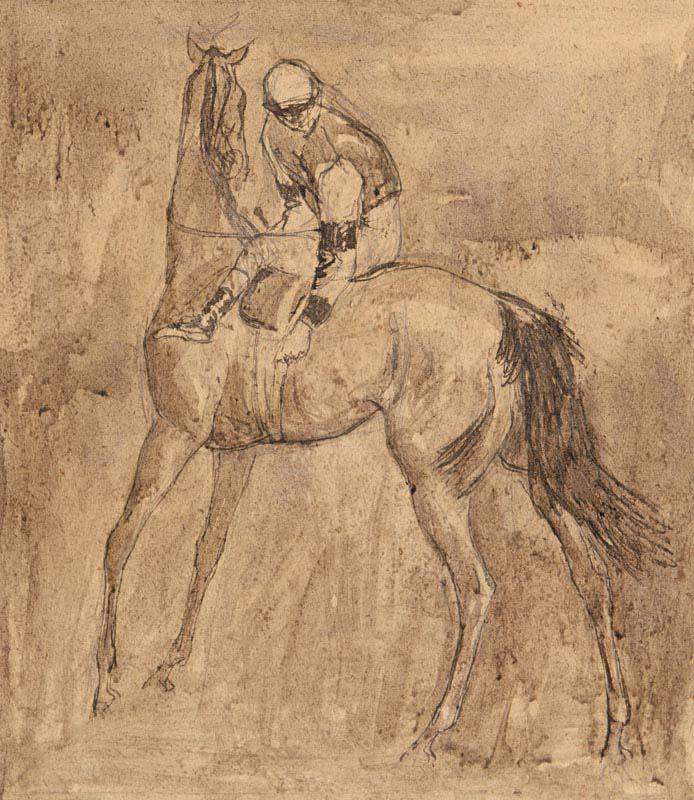 Basil Blackshaw, Jockey Adjusting the Girth at Morgan O'Driscoll Art Auctions