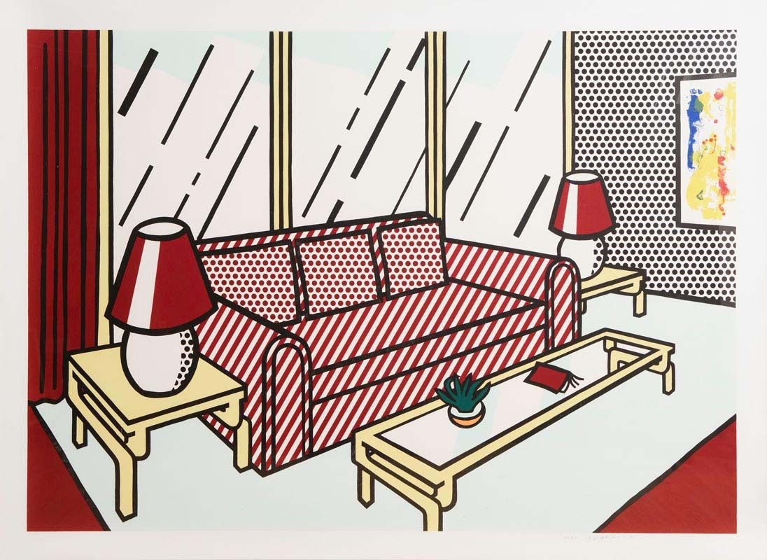 Roy Lichtenstein, Red Lamps (1990) - Interior Series at Morgan O'Driscoll Art Auctions