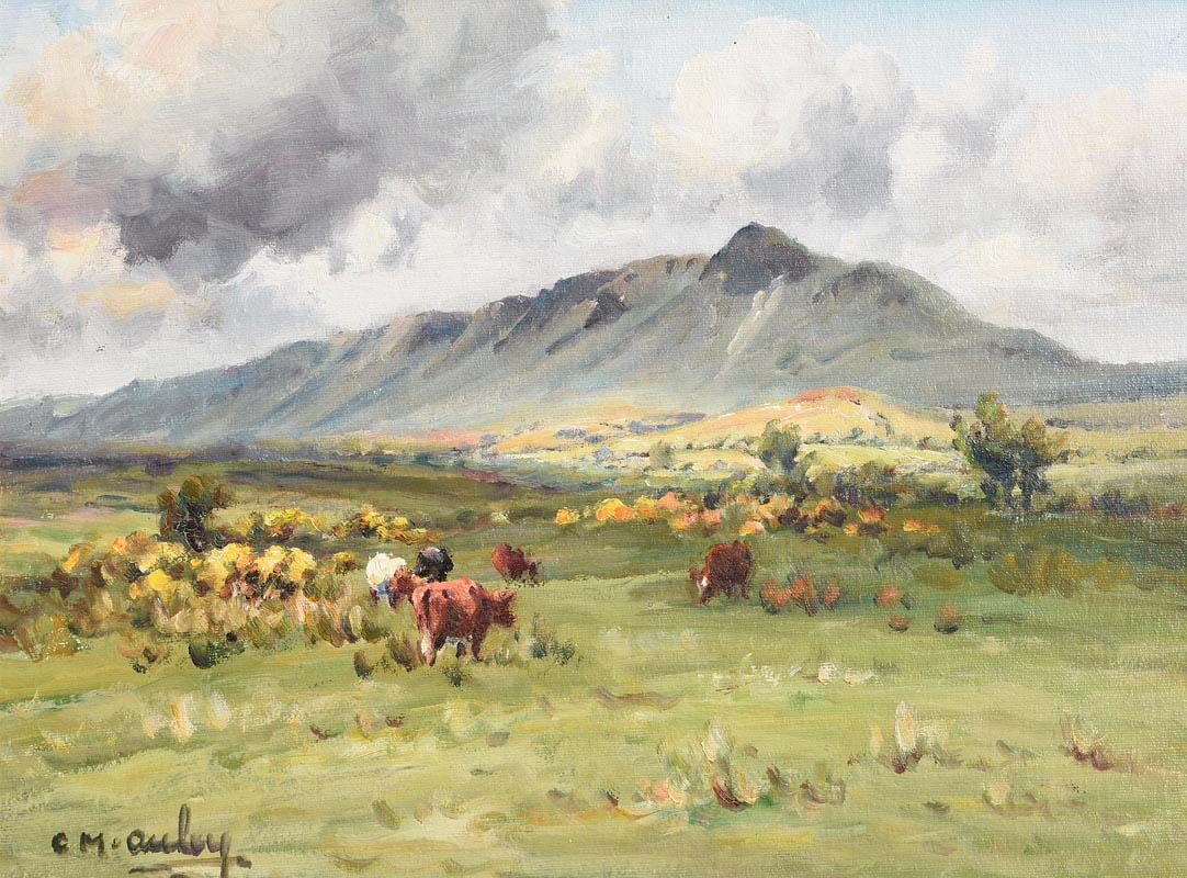 Charles J. McAuley, Cattle Grazing Below, Tievebulliagh, Co. Antrim at Morgan O'Driscoll Art Auctions