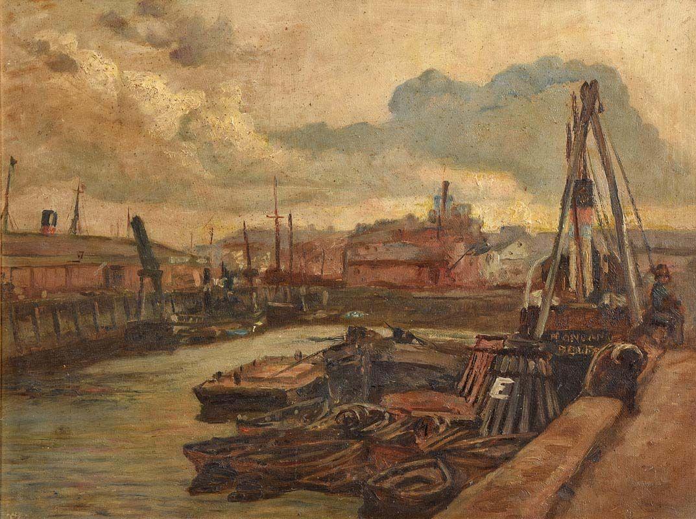 William Conor, Belfast Docks at Morgan O'Driscoll Art Auctions
