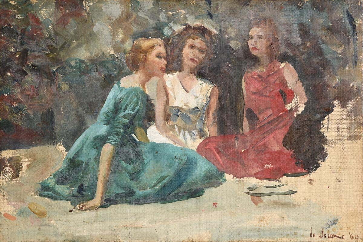 James Le Jeune, Three Young Ladies Relaxing (1980) at Morgan O'Driscoll Art Auctions