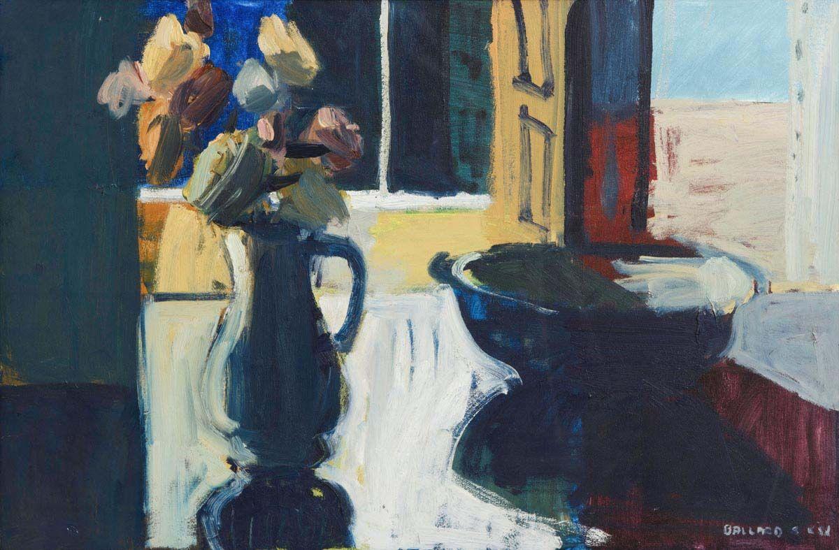 Brian Ballard, Still Life on Tabletop: Bowl and Vase of Flowers at Morgan O'Driscoll Art Auctions