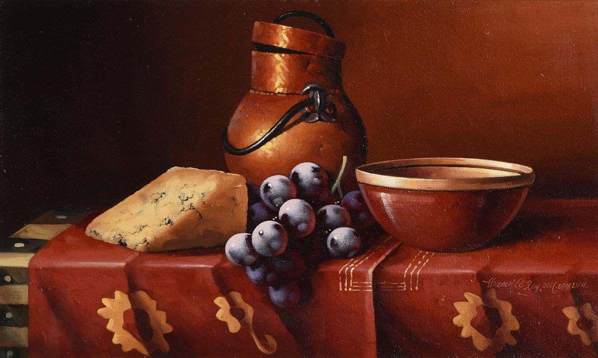 David Ffrench Le Roy, Still Life - Stilton and Grapes at Morgan O'Driscoll Art Auctions