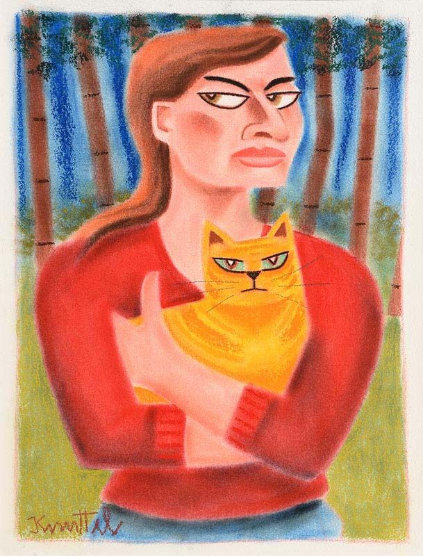 Graham Knuttel, Girl with the Ginger Cat at Morgan O'Driscoll Art Auctions