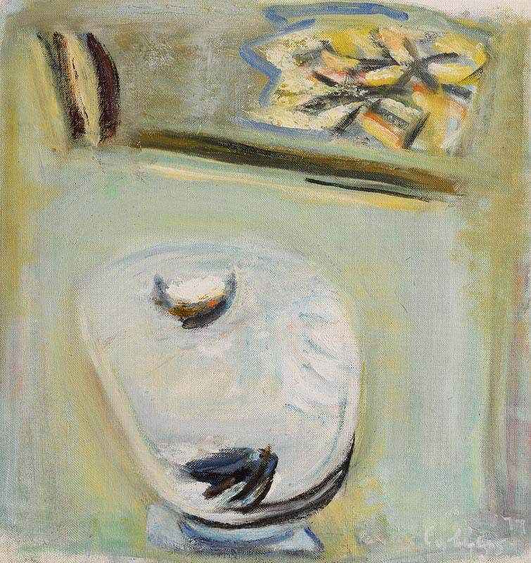Patrick Collins, Bird Bath on the Lawn (1977) at Morgan O'Driscoll Art Auctions