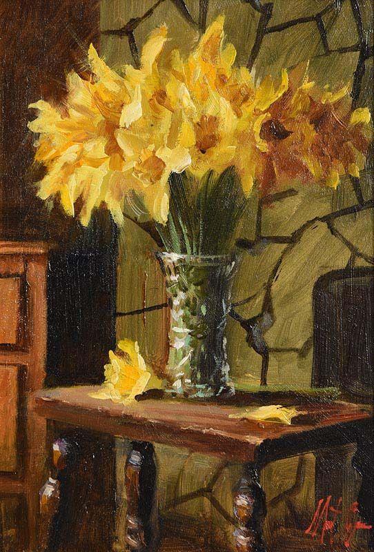 Mat Grogan, Daffodils on Stool at Morgan O'Driscoll Art Auctions