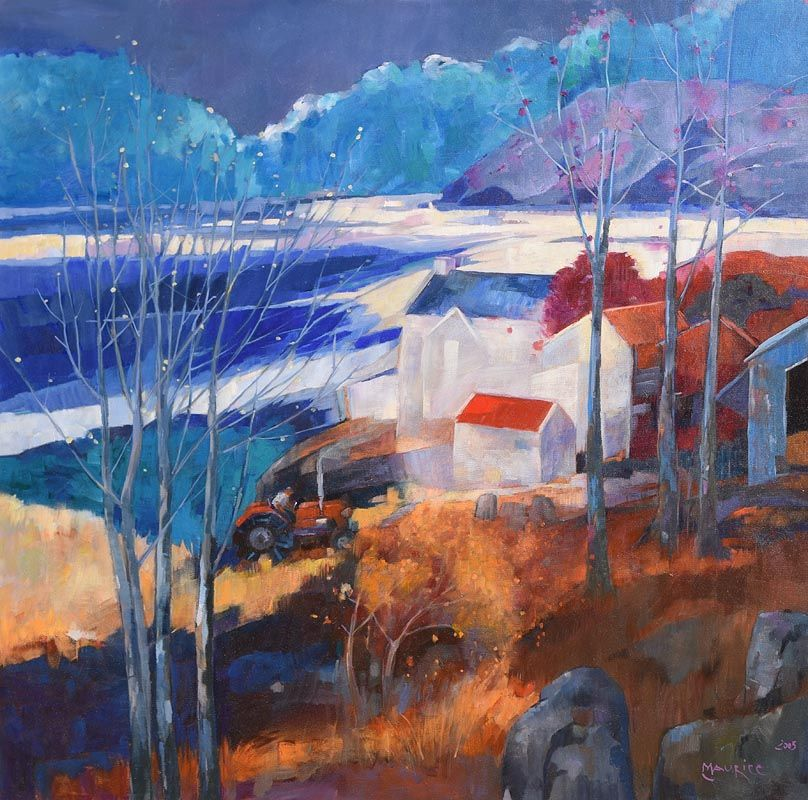 Maurice Henderson, Red Tractor and Red Roofs (2005) at Morgan O'Driscoll Art Auctions