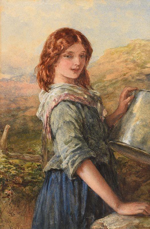 Francis William Topham, The Milk Maid (1865) at Morgan O'Driscoll Art Auctions
