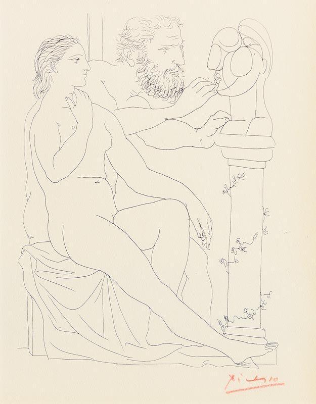 Pablo Picasso, Le Repos Du Sculpteur Devant Le Petit Torse (1952) at Morgan O'Driscoll Art Auctions
