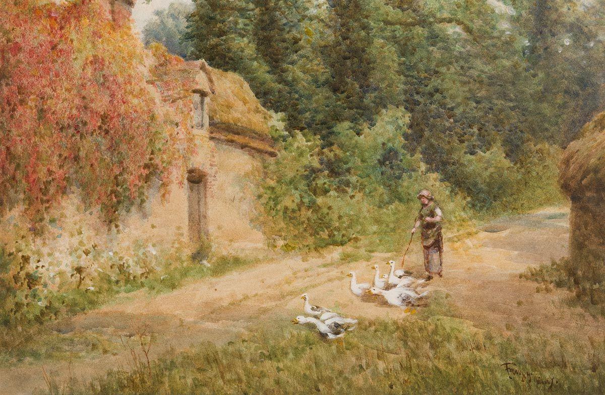 Frank McKelvey, Herding Geese at Morgan O'Driscoll Art Auctions