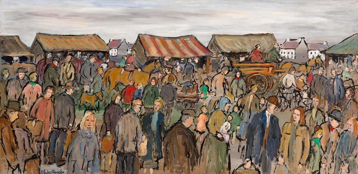 Gladys MacCabe, Market Day, West of Ireland at Morgan O'Driscoll Art Auctions