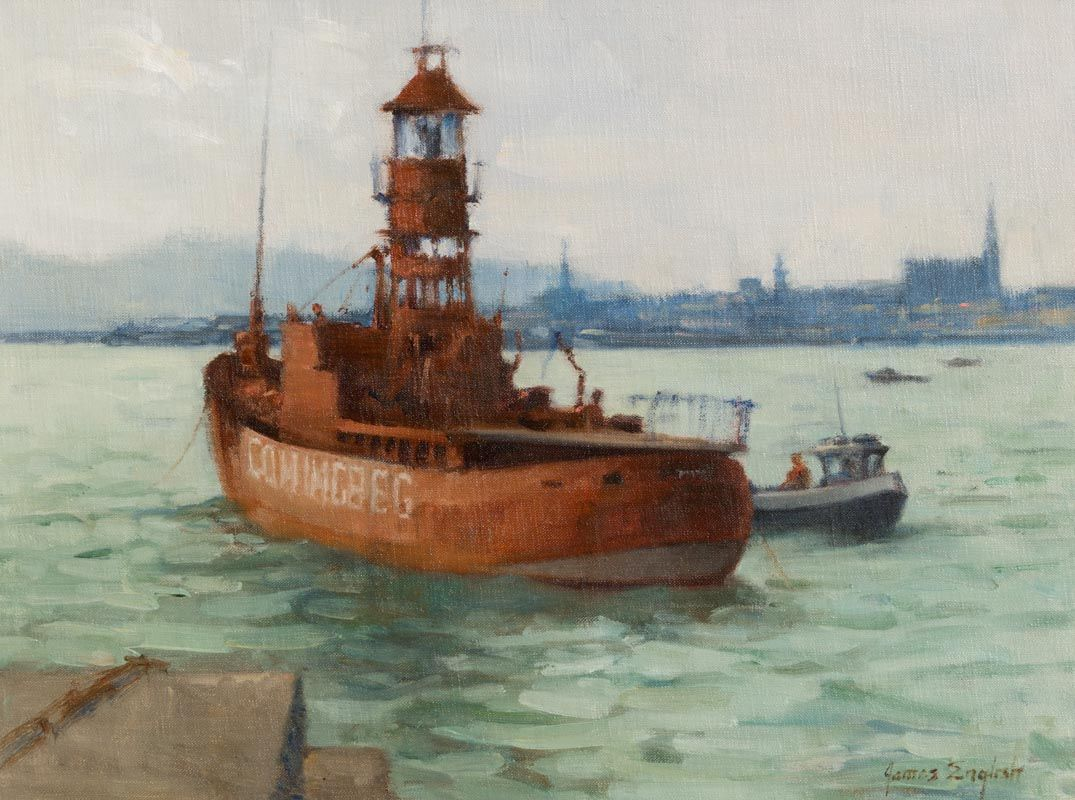 James English, Servicing the Lightship, Dun Laoghaire at Morgan O'Driscoll Art Auctions